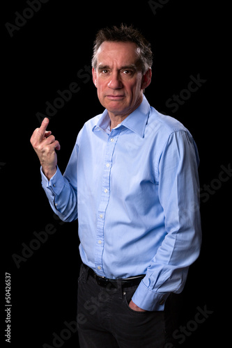 Angry Frowning Middle Age Business Man Giving One Finger Gesture