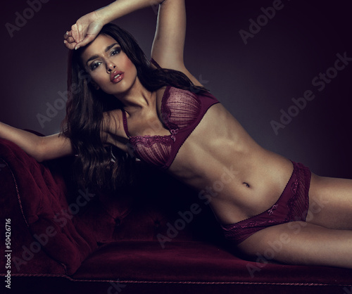 Sexy, sultry woman in lingerie