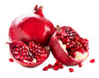 Pomegranates isolated on a White Background. Organic Bio fruits