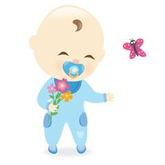 Baby boy holding flowers