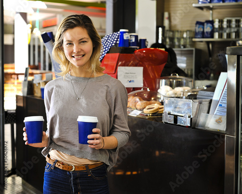 cafe girl, smiling