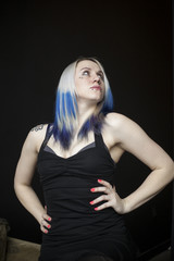 Beautiful Alternative Model with Blue Hair and Black Dress