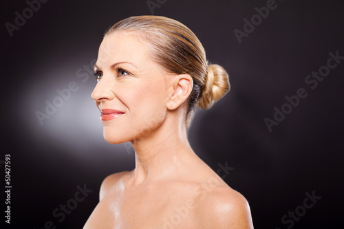 middle aged woman side view
