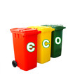Red Yellow And Green Recycle Bins Isolated