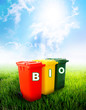 Bio wording on colorful recycle bins