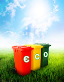 Eco wording on colorful recycle bins