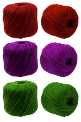 Tangle of knitting yarn set different colors