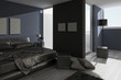 Modern Bed Room with black bed and dark pillows