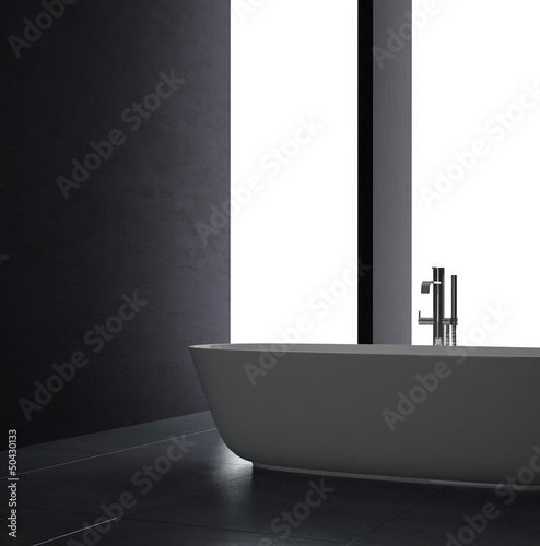 Interior of Luxurious Black Design Bath Room