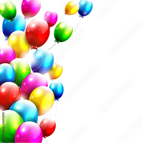 Modern birthday balloons on white background