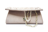 brown clutch bag with jewel on white background