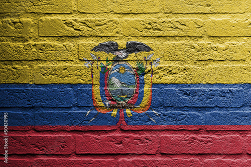 Brick wall with a painting of a flag, Ecuador