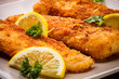 Fish dish - fried fish fillet with vegetables - 50431596