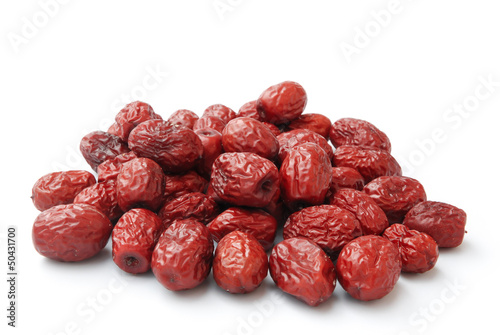dried jujube on white,traditional chinese herbal medicine