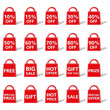 Abstract red bag icon with different offers and discounts