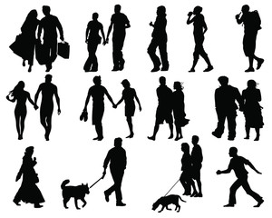 Set of walking people silhouette-vector