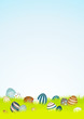16 Retro Easter Eggs Background Meadow Sky DIN A4