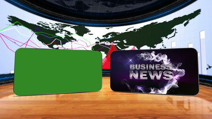 Business News Loop, with Green Screen and Alpha Channel