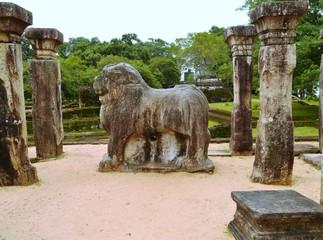 A sculpture of a lion in Polonnaruwa in Sri Lanka