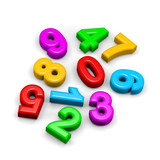 3D colorful funny disorderly digits illustration poster