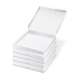 pizza boxes on white background