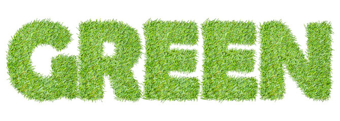 the word GREEN from the green grass, isolated on white