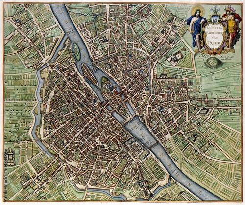 Obraz na płótnie Paryż rocznika mapę