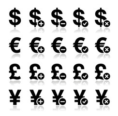 Currency icons set - dollar, euro, yen, pound