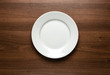 White empty plate at the table with copy space