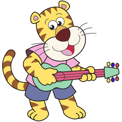 Cartoon Tiger Playing a Guitar