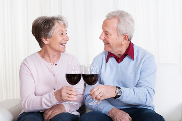 Senior Couple Toasting Glass Of Wine