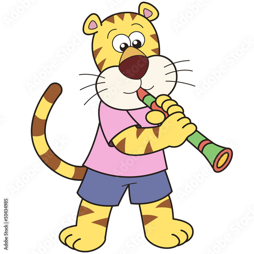 Cartoon Tiger Playing a Clarinet