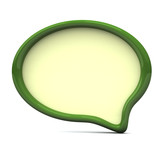 Blank green speech bubble frame - chat icon, 3d