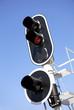 Railway traffic lights on blue sky