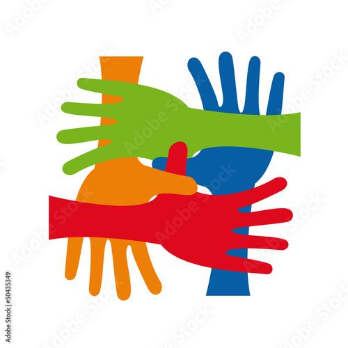 Logo teamwork, hands crossed # Vector