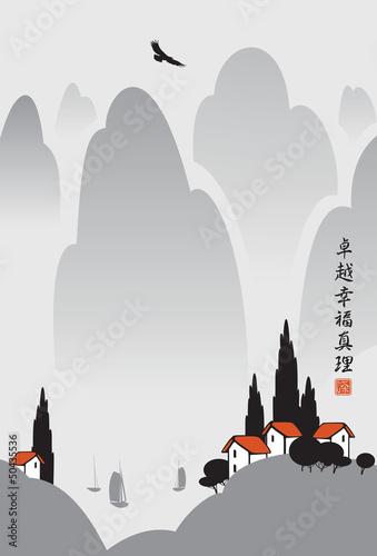Obraz na płótnie Chińska wioska górska z jeziora i orła w locie
