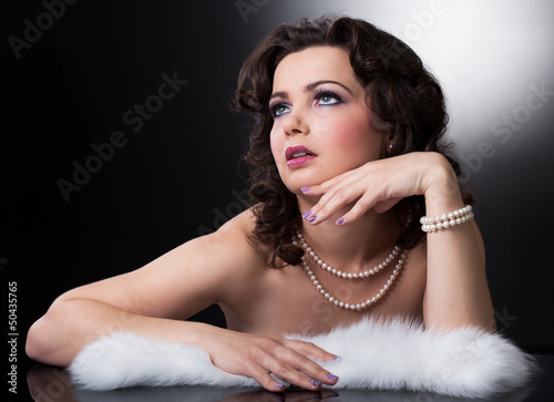 Young Woman With White Fur