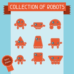 Little abstract robot doodle collection.