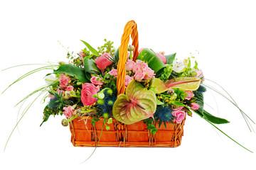 Flower bouquet arrangement centerpiece in a wicker gift basket i