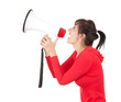 screaming young woman with megaphone