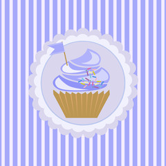 background with cupcake and decoration