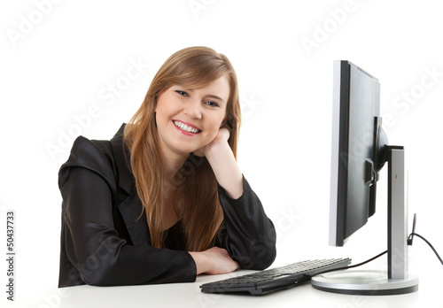 happy businesswoman with a computer