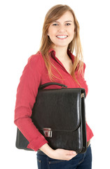 happ young businesswoman with black briefcase