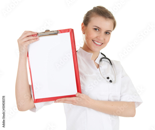 young woman doctor with stethoscope keeping clipboard