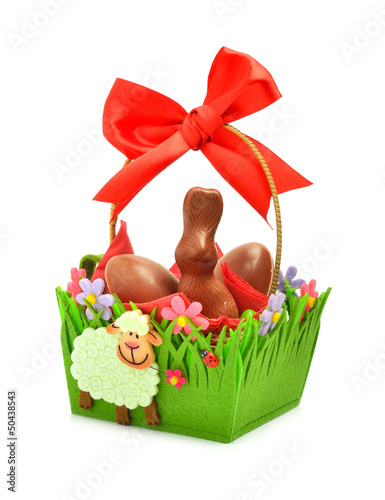 Easter chocolate bunny and eggs in the gift basket