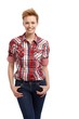 Casual woman in shirt and jeans smiling