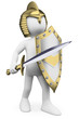 3D white people. Knight with sword helmet and shield