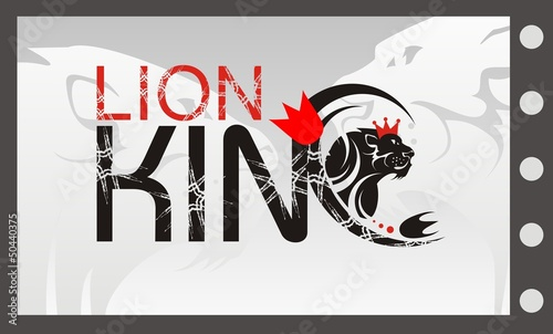 Lion King with a crown, vector lion symbol