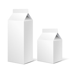 Two Milk Carton Packages Blank White