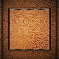 Leather background with label and stitches - eps10